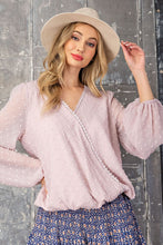 Load image into Gallery viewer, Surplice Lace Long Sleeve Top