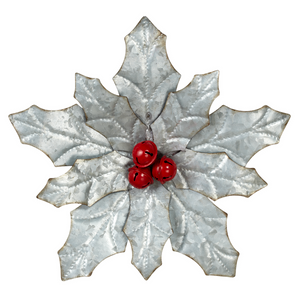 Small Galvanized Poinsettia Wall Decor