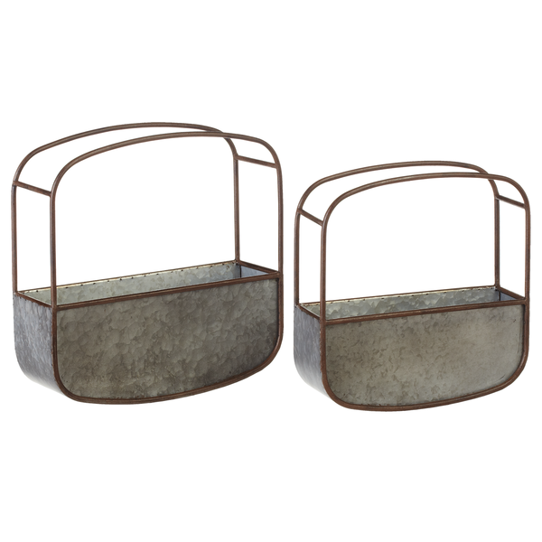Industrial Galvanized Wall Planter