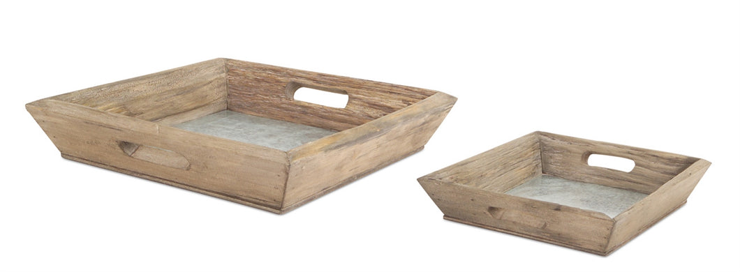 Wood and Metal Square Tray - Large