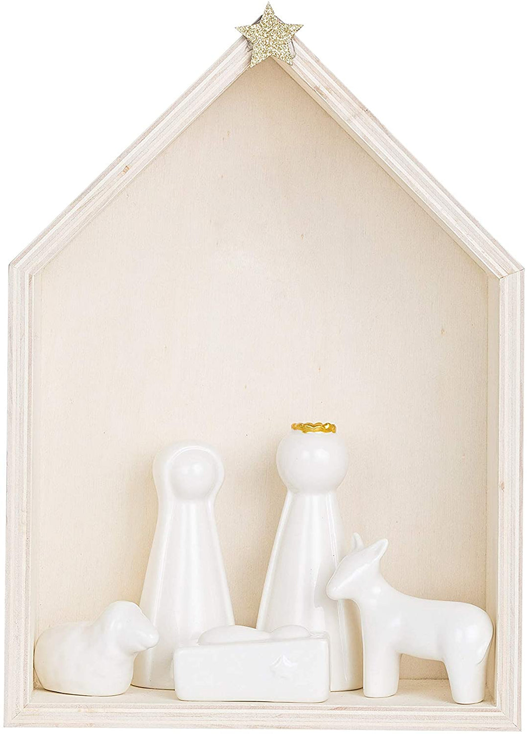 Wood Nativity with Ceramic (Set of 6 Pieces) Figures and Figurines, White