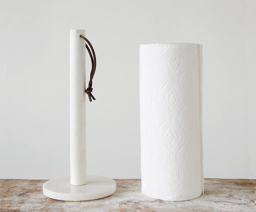 Marble & Leather Paper Towel Holder