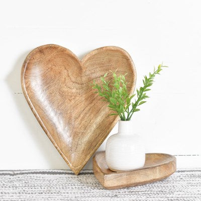 Wood Carved Heart Trays