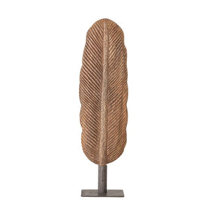 Hand-Carved Mango Wood Feather on Metal Stand