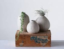 Load image into Gallery viewer, White & Black Stoneware Textured Vase Set