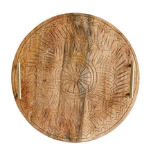 Load image into Gallery viewer, Round Hand-Carved Mango Wood Tray w/ Metal Handles