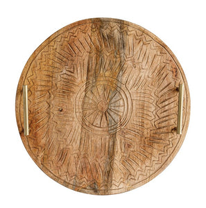 Round Hand-Carved Mango Wood Tray w/ Metal Handles