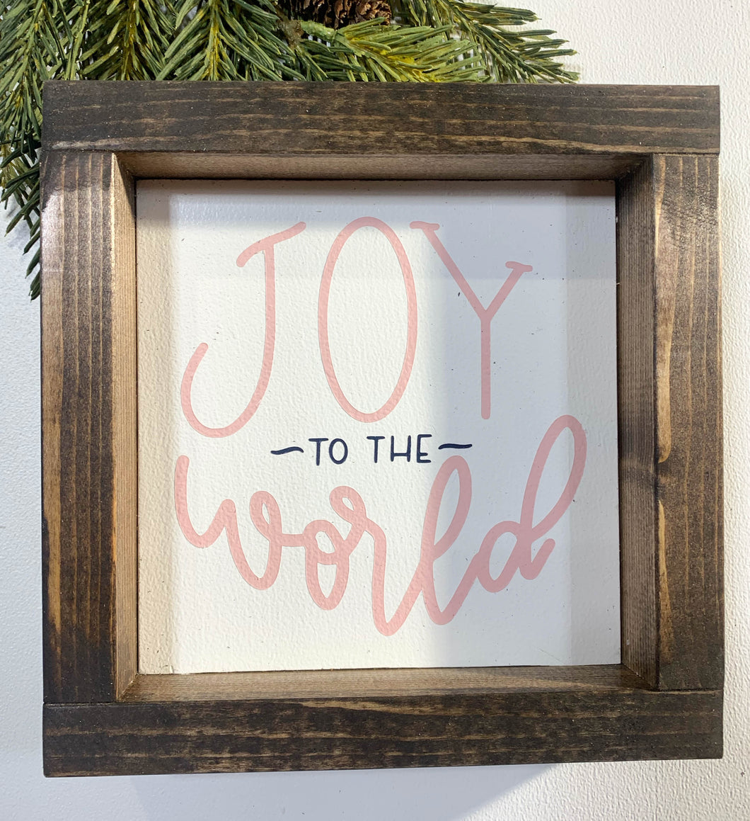 Handmade Sign - Joy to the World - Pink