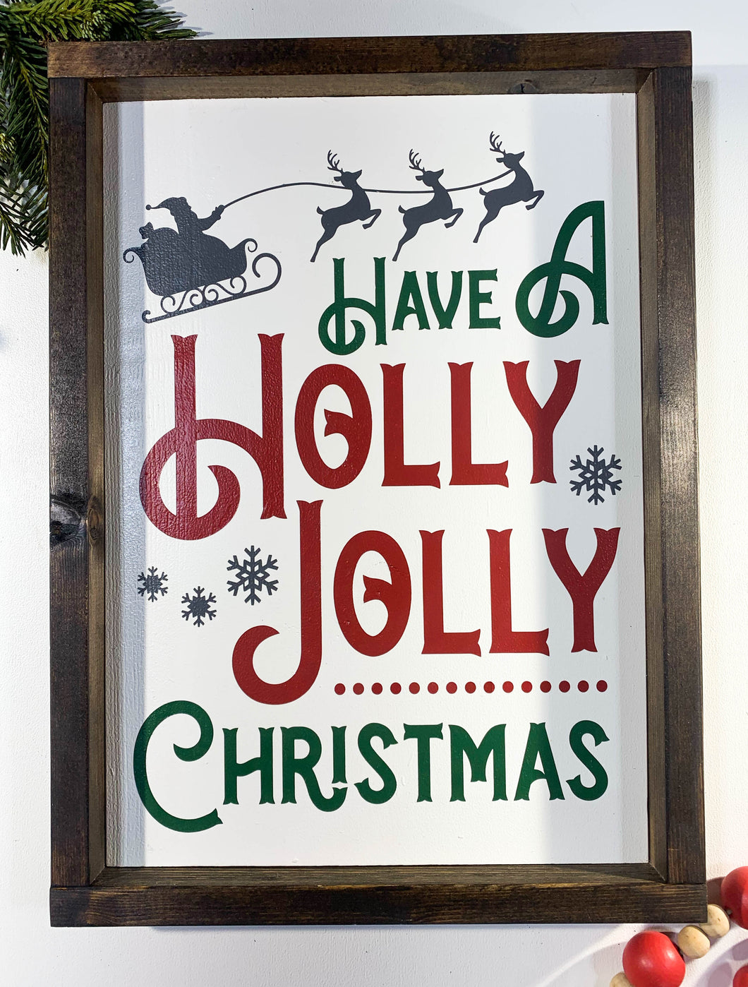 Handmade Sign - Holly Jolly - Traditional