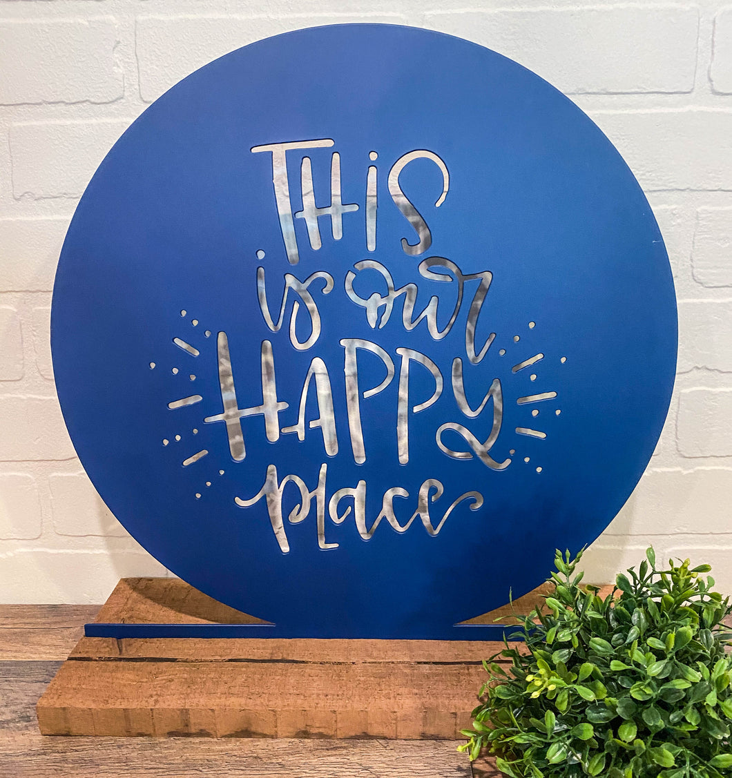 "16"" This Is Our Happy Place Cutout  - Bright Navy"