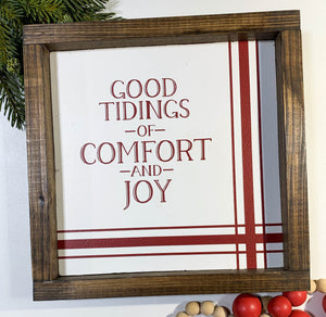 Handmade Sign - Comfort & Joy Striped