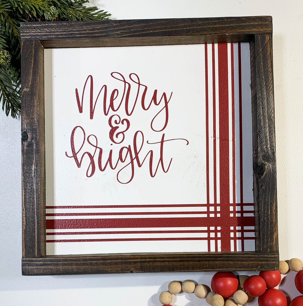 Handmade Sign - Merry & Bright Striped