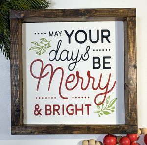 Handmade Sign - Merry & Bright Stack