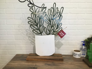 "16"" Succulent Cutout - White & Green"