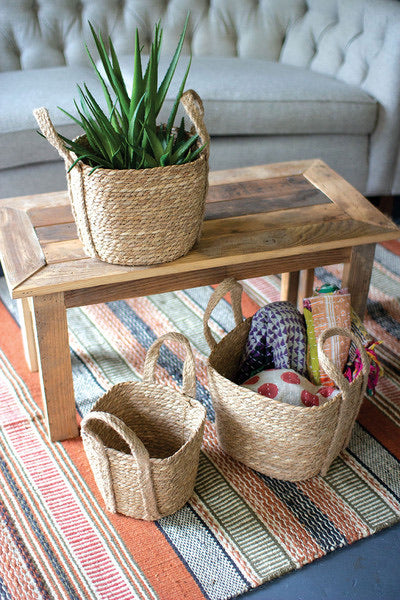 square seagrass baskets with handles
