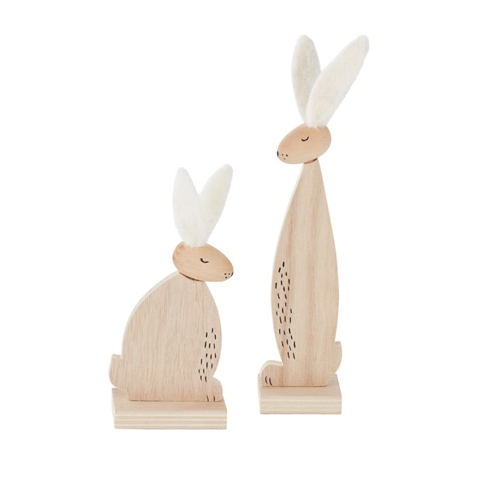 Wood and Cotton Bunnies