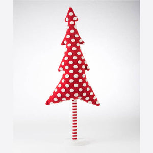 Red With White Dot Tree on Wooden Stand - Large