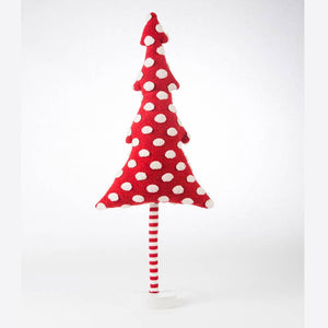 Red With White Dot Tree on Wooden Stand - Medium