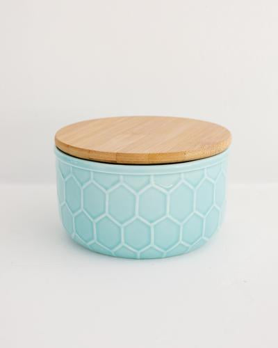 Hex Pattern Stoneware Canisters