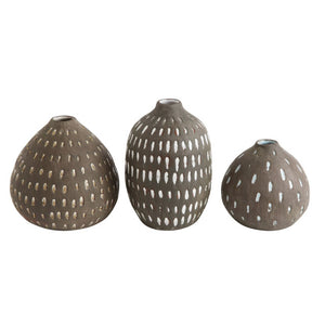 Terracotta Vases w/ Hand-Painted Lines Set - Grey