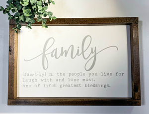 Handmade Sign - Family Definition