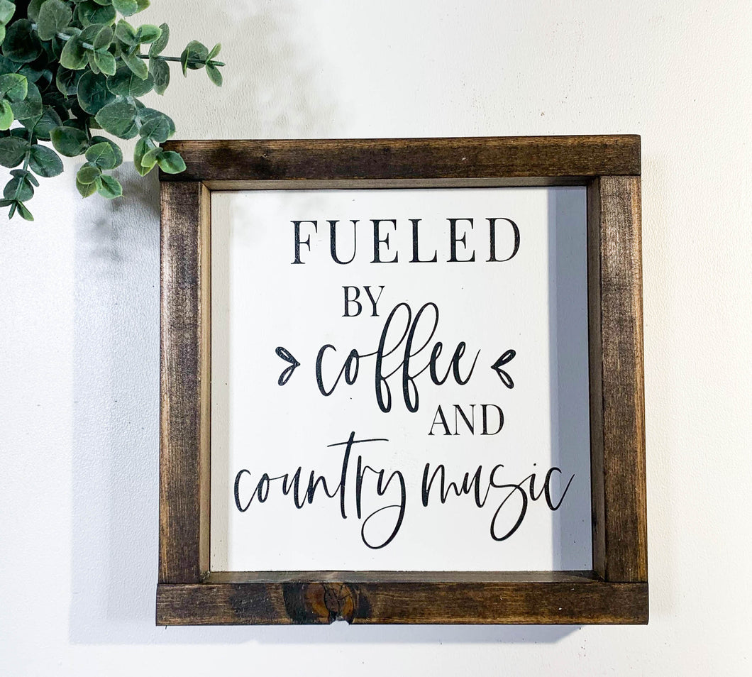 Handmade Sign - Coffee & Country Music