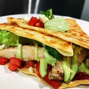 Crêpe filled with chicken, tomato, feta, romaine lettuce, and avocado tzatiki.