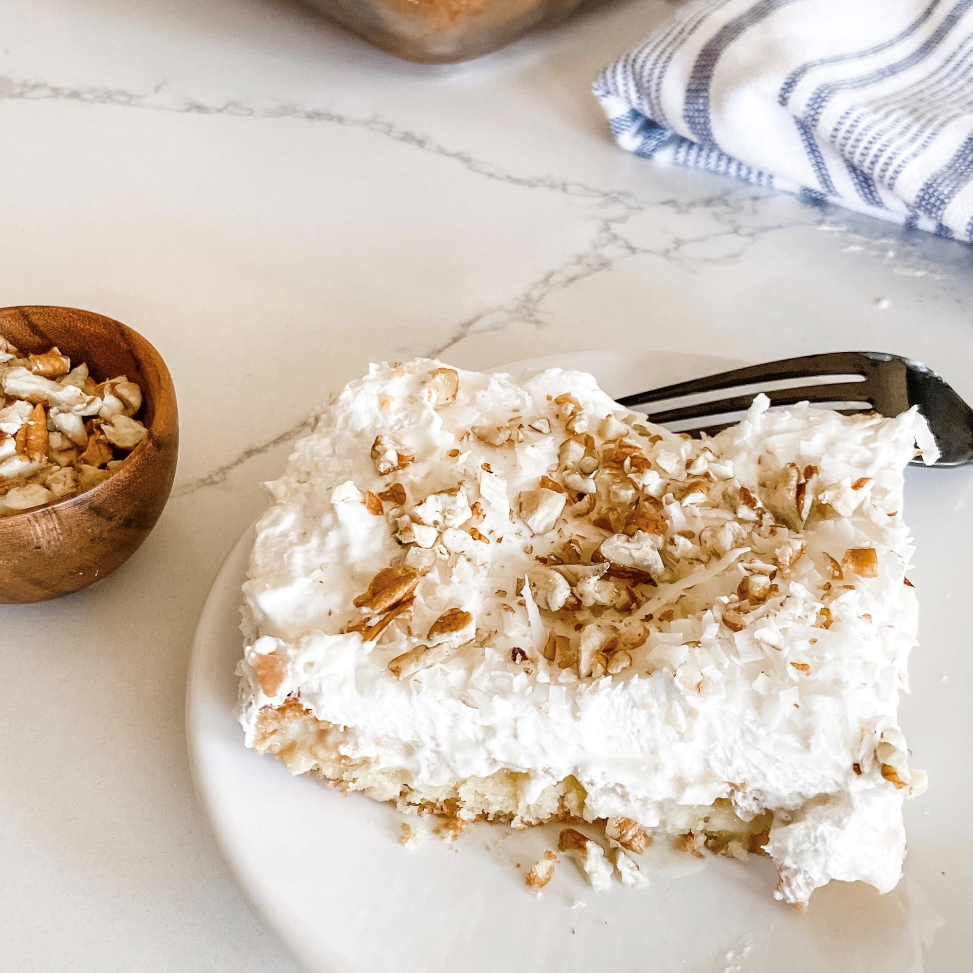Coconut Cream Pie Poke Cake Recipe | Easy Weeknight Dinner Recipes | A Dash of Casual Blog | Home Decor Boutique | Boerne Texas | San Antonio | Texas Hill Country