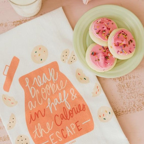 break a cookie in half flour sack tea towel | kitchen towel | kitchen linens | Shop A Dash of Casual kitchen and gift items online or in store | Located inside the Corner Cartel in Boerne | best boerne shops for home decor vintage items accessories and gifts