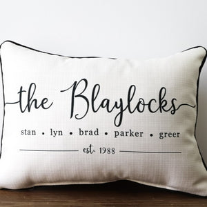 Family Names Established Custom Pillow