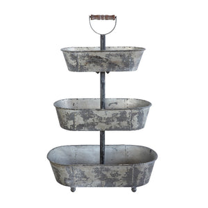 Metal 3 Tier Container with Wood Handle