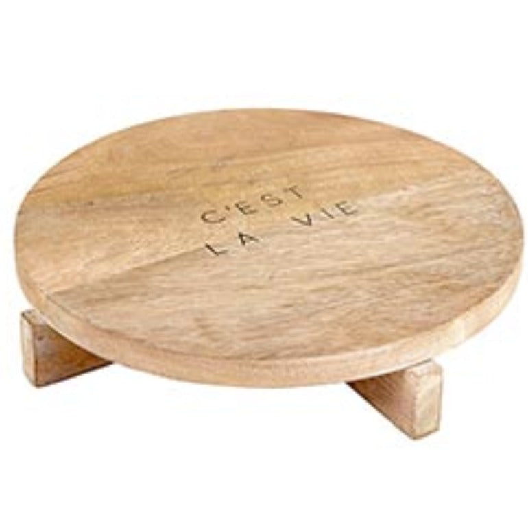 c'est la vie pedestal cheese board serving board charcuterie board | farmhouse decor | modern decor | Shop A Dash of Casual kitchen and gift items online or in store | Located inside the Corner Cartel in Boerne | best boerne shops for home decor vintage items accessories and gifts