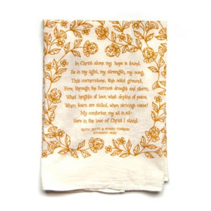 in christ alone hymn tea towel | kitchen towel | kitchenware | kitchen linens | farmhouse rustic christian home decor and gifts | shop a dash of casual home decor and art online or in store | Located inside the Corner Cartel in Boerne | best boerne shops for home decor vintage items accessories and gifts