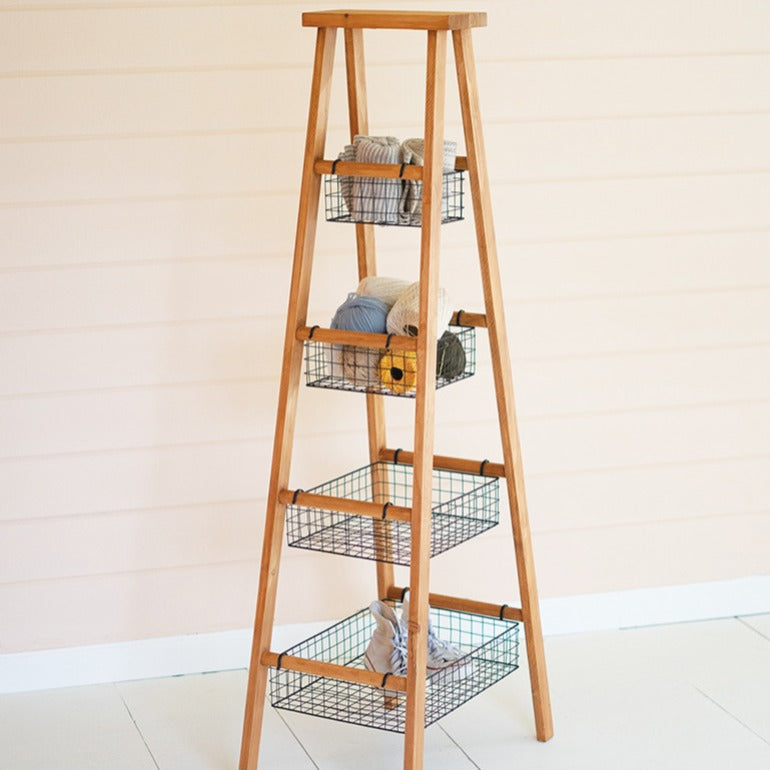 wooden ladder with wire baskets | bathroom storage | home organization | shop a dash of casual furniture, home décor, kitchenware, gifts, and art online or in store | Located inside the Corner Cartel in Boerne | best boerne shops for home decor vintage items accessories and gifts