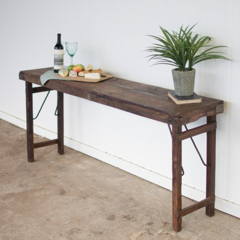 antique wooden folding console table accent table entry table | shop A Dash of Casual furniture and home decor online or in store | Located inside the Corner Cartel in Boerne | best boerne shops for home decor vintage items accessories and gifts