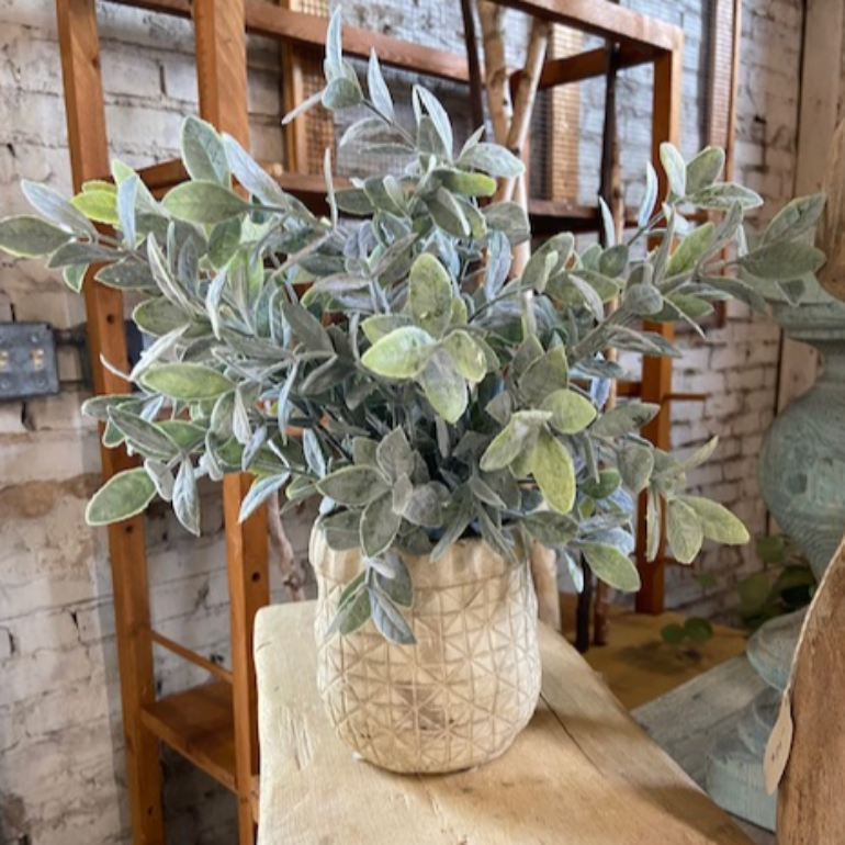 artificial sage plant in criss cross pot | faux floral | shop A Dash of Casual home decor and gift items online or in store | Located inside the Corner Cartel in Boerne | best boerne shops for home decor vintage items accessories and gifts
