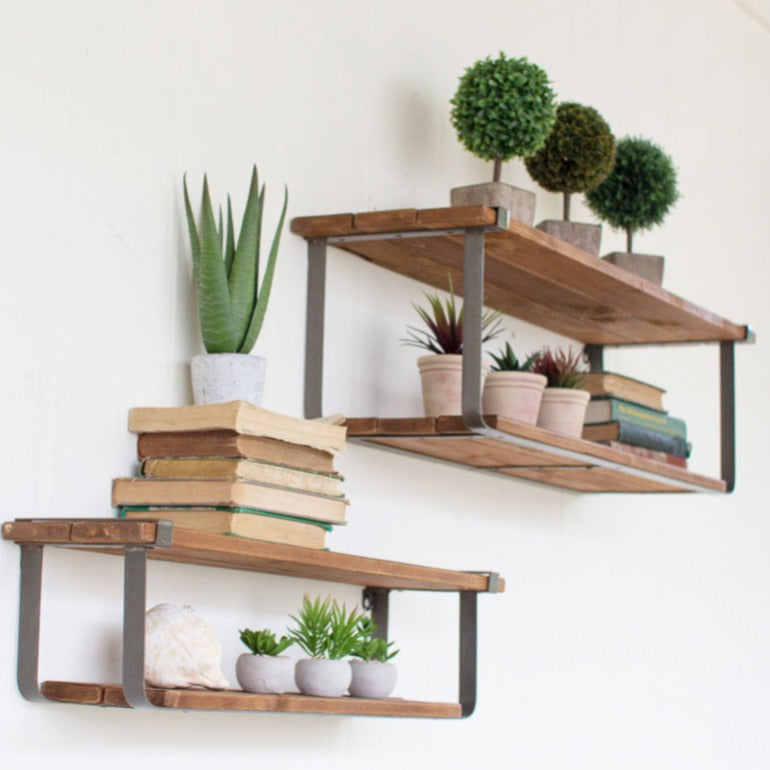 set of two recycled wood and metal shelves | floating shelves | modern farmhouse decor | rustic decor | urban industrial decor | shop a dash of casual furniture, home décor, kitchenware, gifts, and art online or in store | Located inside the Corner Cartel in Boerne | best boerne shops for home decor vintage items accessories and gifts