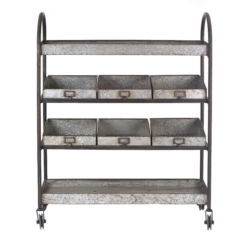 metal 4-tier cart on casters with shelves and bins | shop a dash of casual furniture, home décor, kitchenware, gifts, and art online or in store | Located inside the Corner Cartel in Boerne | best boerne shops for home decor vintage items accessories and gifts