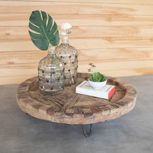 Recycled Round Wood Display Tray
