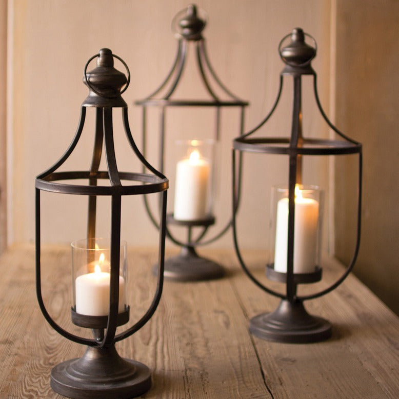 Metal Lanterns With Glass Inserts - Set of 3