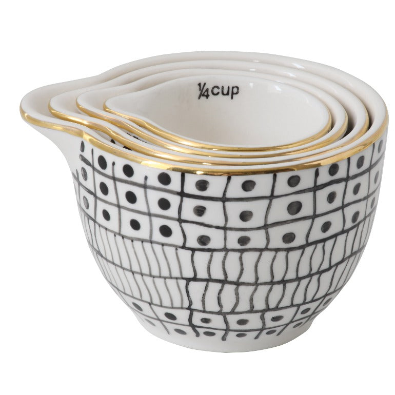 Black & White Stoneware Measuring Cups with Gold Electroplating (Set of 4 Sizes)