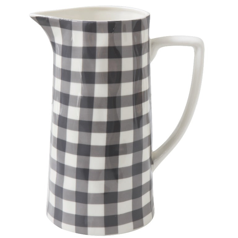 black and white gingham checkered stoneware pitcher | farmhouse decor | shop a dash of casual kitchen and gift items online or in store | Located inside the Corner Cartel in Boerne | best boerne shops for home decor vintage items accessories and gifts