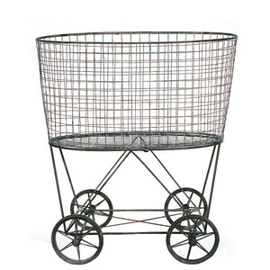 Vintage Metal Laundry Basket with Wheels