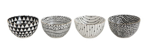 White & Black Bowls with Varying Designs (Set of 4 Designs)