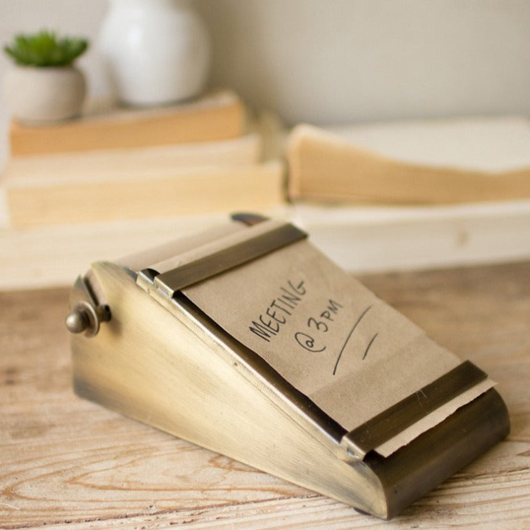 Desktop Note Roll in Antique Brass Dispenser