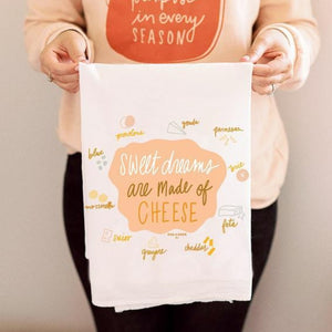 sweet dreams are made of cheese flour sack tea towel | kitchen towel | kitchen linens | housewarming foodie gift ideas | shop a dash of casual furniture, home décor, kitchenware, gifts, and art online or in store | Located inside the Corner Cartel in Boerne | best boerne shops for home decor vintage items accessories and gifts