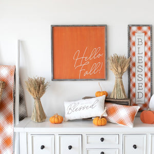 Hello Fall Reversible Wooden Sign
