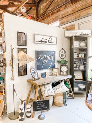 enjoy the little things wooden framed farmhouse sign | farmhouse decor | rustic decor | farmhouse rustic wall art | shop a dash of casual home decor and wall art online or in store | Located inside the Corner Cartel in Boerne | best boerne shops for home decor vintage items accessories and gifts