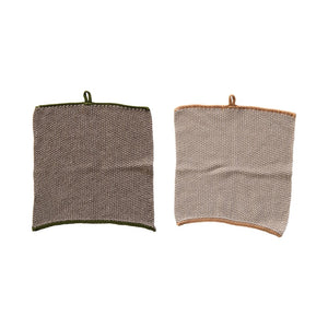 "10.5"" Square Cotton Knit Dish Cloth with Loop, 2 Colors, Set of 2"