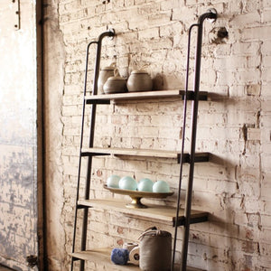 Large wood and metal leaning shelving unit | bookshelf furniture | modern farmhouse urban rustic home decor | shop a dash of casual home décor, kitchenware, gifts, and art online or in store | Located inside the Corner Cartel in Boerne | best boerne shops for home decor vintage items accessories and gifts